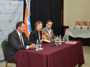 Fabiana Ríos en la presentación del catálogo.